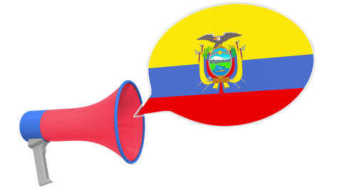 Megaphone and flag of Ecuador on the speech balloon. Language or national Live Action