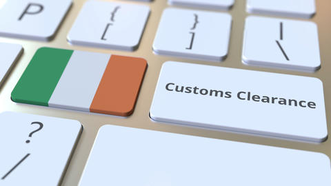 CUSTOMS CLEARANCE text and flag of the Republic of Ireland on the buttons on the Live Action