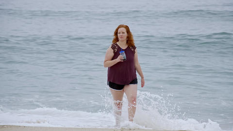 Running over a sandy beach at the ocean - summer holiday Live Action