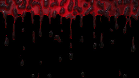 Blood dripping from top of screen close up Animation
