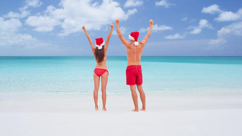 Christmas CINEMAGRAPH - seamless loop: couple happy on travel beach holidays Live Action