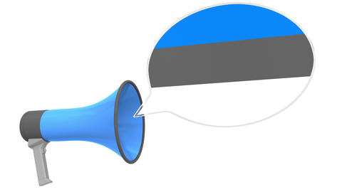 Loudspeaker and flag of Estonia on the speech balloon. Language or national Live Action