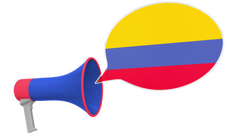 Megaphone and flag of Colombia on the speech bubble. Language or national Live Action