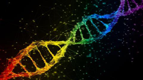 Iridescent rainbow random digits DNA molecule strand colorful Loop Background 4k Animation