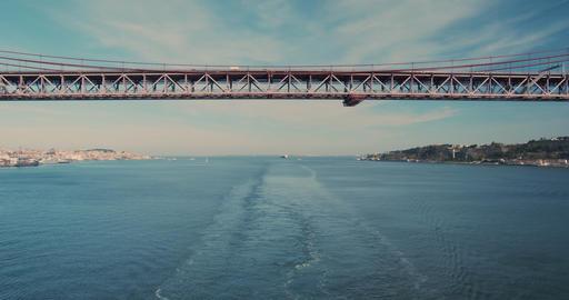 Aerial view. suspension bridge over Tagus river in Lisbon. 25th april bridge Live Action