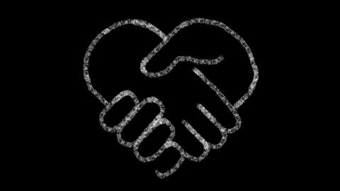 heart-shaped hand icon designed with drawing style on chalkboard, animated Live Action