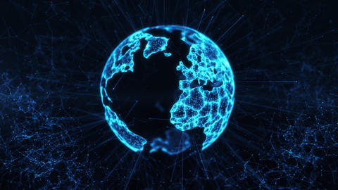 Digital globe big data social network Earth planet hologram 4k loop background Animation