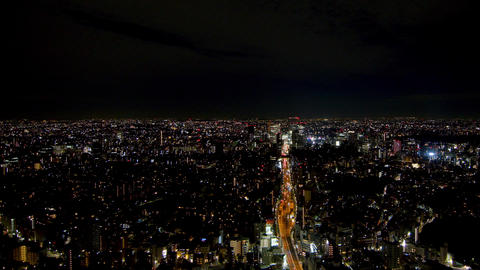 Night view of Tokyo Shibuya Aerial view Walk in the air Live Action