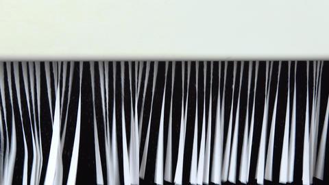 Shredder destroys paper close-up. Shredder cuts paper into strips Live Action