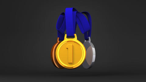 Rotating 3Medals On Black Background GIF