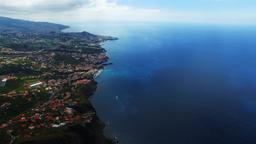 Flight aerial ocean city Funchal coast seashore. Portugal Madeira 4k video Footage