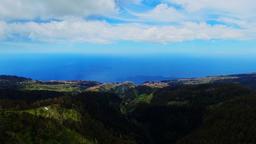 Portugal Madeira Funchal 4k aerial video. Mountain hills village ocean sea coast Footage