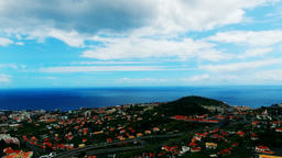 Portugal Madeira Funchal 4k aerial video. Flight over city ocean sea coast Footage