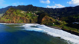 Portugal Madeira 4k aerial panoramic video. Sea ocean coast harbor shore surf Footage