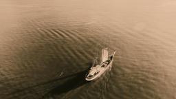 Sailing retro pirates historic ship ocean sea calm water. Aerial 4k sepia video Footage