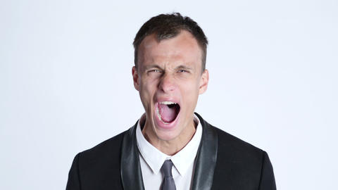 portrait of businessman in anger screaming Footage