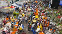 Flower market near Howrah bridge from above,Kolkata,India Footage