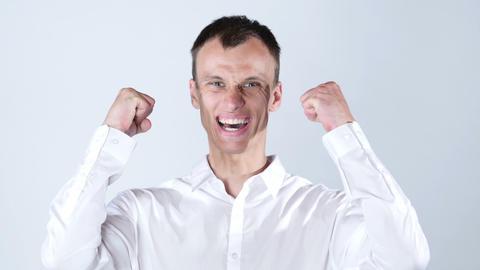 Very happy energetic businessman , good news Footage