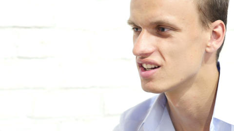 Close up portrait of young bussinessman ,Manager talking with an employee Footage