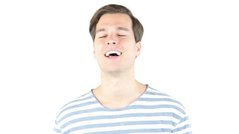 Closeup portrait of happy guy laughing , isolated on white background Footage