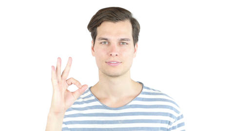 business, people, vision and success concept - happy man showing ok sign Footage