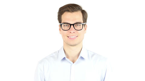 Close up Smiling Young Businessman Wearing Eyeglasses, Looking at the Camera Footage