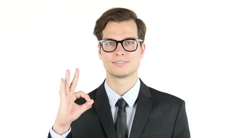 finances, internet, business, success concept, businessman showing ok sign Footage