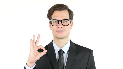 finances, internet, business, success concept, businessman showing ok sign Footage