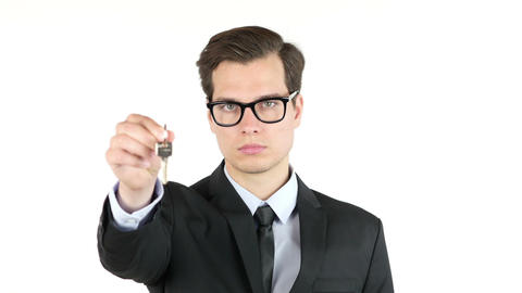 Portrait of Real estate agent or businessman giving keys , success , car Footage