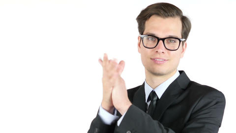 Cheerful smiling businessman , clapping ,success and achievement concept Footage