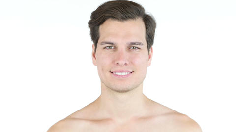 Portrait of handsome man with big smile shirtless Footage