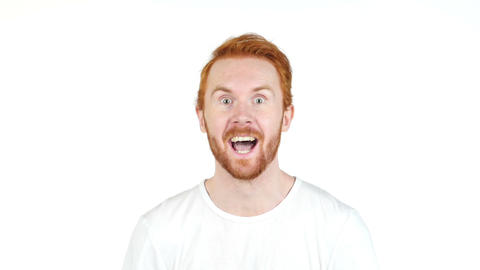 happy red hair man winning successfull on white background Footage