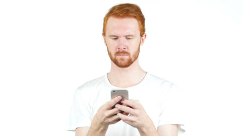 man using mobile smart phone, Typing Message on White Background Footage