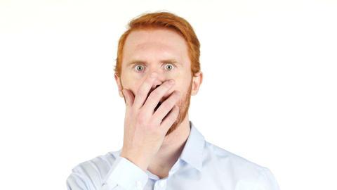 Young businessman clueless , amazed , shocked , white background Footage