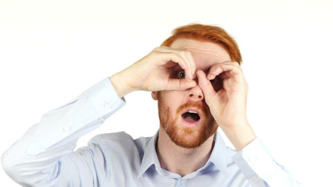 Portrait of a businessman using binoculars, searching for opportunities Footage