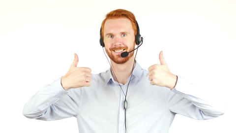 Closeup photo of an agent consulting clients on the phone gesturing thumb up Footage