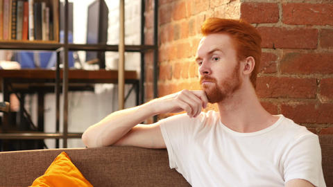 red hair man and thinking in his creative office Footage