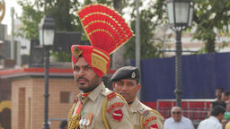 Border guard at flag lowering ceremony,Wagah,Punjab,India Footage