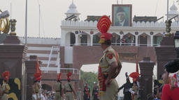 Border guard watching the border ceremony,Wagah,Punjab,India Footage