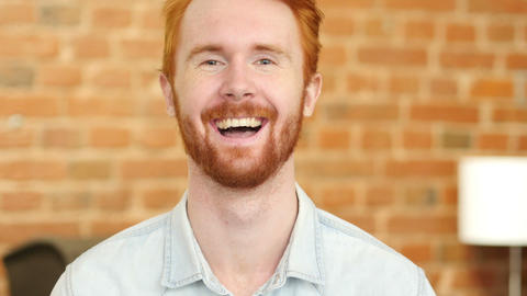 Laughing on Joke, Young Man Portrait Footage