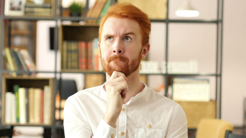 Thoughtful in office, Businessman Thinking about new project Footage