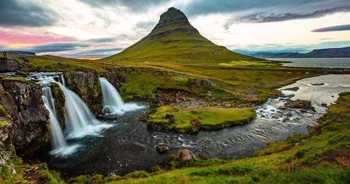 SEAMLESS LOOP VIDEO: Iceland timelapse photography of waterfall Kirkjufell Live Action