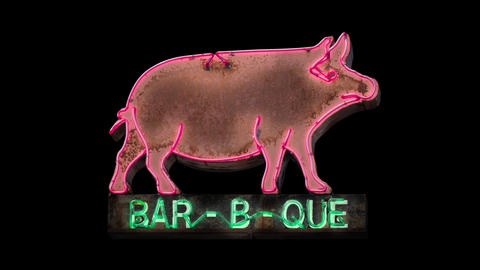 Isolated Loopable Neon BBQ Sign CG動画
