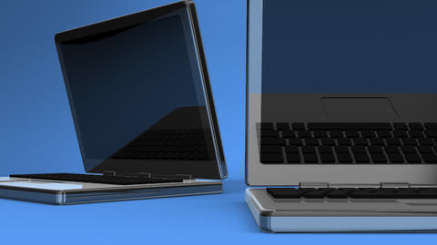 Closeup Of Laptops On Blue Background Videos animados