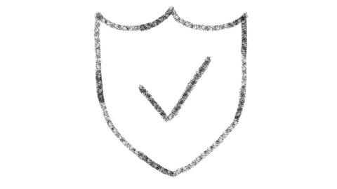 web security icon designed with drawing style on blackboard, animated footage Live Action