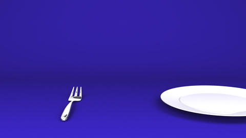 Cutlery And Dish On Blue Background Videos animados