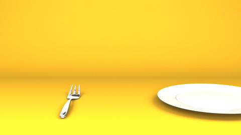 Cutlery And Dish On Yellow Background Videos animados