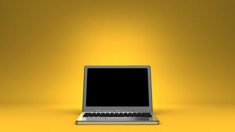 Front View Of Laptop On Yellow Text Space Videos animados