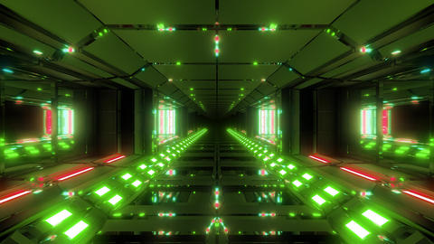 futuristic scifi metal tunnel corridor with nice glowing lights 3d rendering Animation