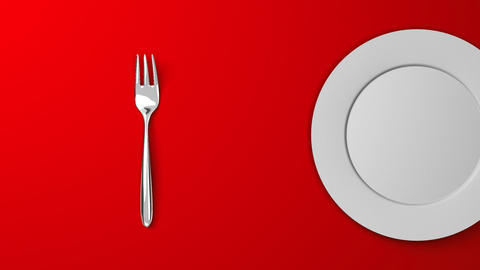Top View Of Cutlery And Dish On Red Background Videos animados